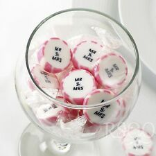 PINK MR AND MRS ROCK SWEETS WEDDING FAVOURS WRAPPED x 50