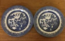 2 Blue Willow Charger Plates 10 Inches Churchill England 3 Men On The Bridge