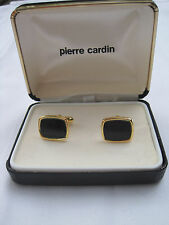 Pierre Cardin, New Old Stock, Gold-Tone Cufflinks w/ Onyx Stones, Velvet Box