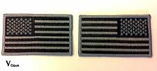 US USA American Flag patch LOT of 2 LEFT & RIGHT Subdued BLACK and GRAY GREY