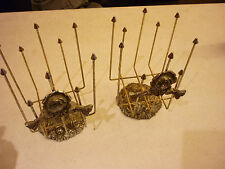 Vintage Set of 2 Wire Racks Metal - Ornate Floral Base and Front Decor