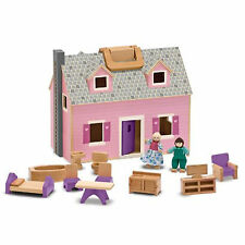 LARGE FOLDABLE WOODEN DOLLHOUSE BIG DOLLS HOUSE FURNITURE PEOPLE DOLLSHOUSE TOY