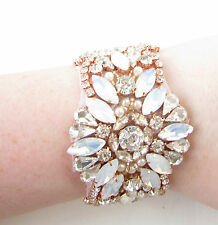 Opal & Rose Gold Ivory White Pearl Bridal Bracelet Diamante Cuff Jewellery 1045
