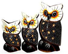 Lot de 3 Hiboux en Bois Chouette Artisanat Set Peint Wooden Owl Hibou