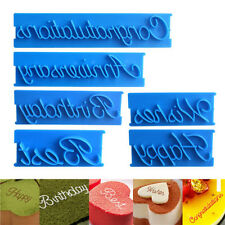 6pcs/Set Letter Fondant Cake Chocolate Decorating Mould Stamp Embosser Mold DIY