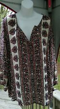 Lucy and laurel boho Bohemian red white and blue tunic hippy women's size 2X NWT