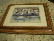Hand Signed Winnie Easton W E Jones Framed Art Print Camden Harbor Last Snowfall