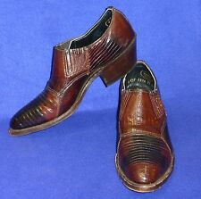 RARE 5 B VINTAGE JUSTIN LIZARD MULES BROWN WOMENS COWBOY BOOTS SHOES
