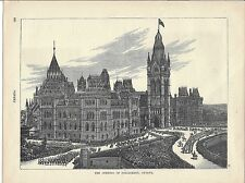 Original 1893 Print of Woodcut Engraving/The Opening of Parliament, Ottawa