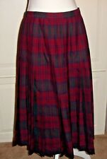 Tootal Reversible Pleated Tartan Plaid Wool Skirt Red and Green Women's Sz 12