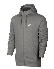 $161 NIKE Men's DARK GRAY SWOOSH LOGO FULL ZIP FLEECE SWEATSHIRT HOODIE SIZE M