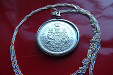 "1965 SILVER CANADA Coat of Arms Antique Coin Pendant  30"" 925 Silver Wavy Chain"