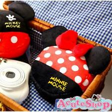 Disney Minnie Head-shape Plush Cosmetic Bag Cameras Bag Zipper Pouch