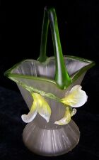 Beautiful Old Hand-Blown Glass Basket with Lily Design