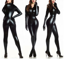 Sexy Women Vinyl PVC Wetlook Leather CATSUIT CLUBWEAR Bodysuit Motor Jumpsuit