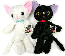 Plush Cat Adorable Cute Kutakuta Laxy Fluffy Kitten Black & White Cat -2 Set (A)