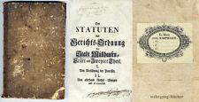 Alsace, Mulhouse, Elsass. Sammelband, Statuten/ Gerichtsordnung 1740-1782