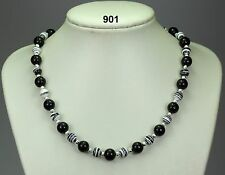 Black onyx agate 10mm bead necklace,black/white striped turkey turquoise