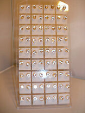 Joblot of 36 Pairs Gold colour clear round 6mm Crystal stud Earrings - wholesale