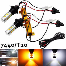 2Pcs T20 W21W 7440 42SMD 30W LED Dual Color White/Amber Turn Signals light Lamp