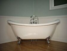 DOUBLE  SLIPPER CLAWFOOT BATHTUB & FAUCET pedestal tub free standing