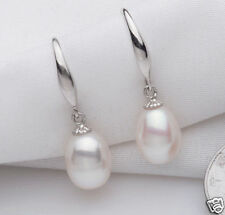 Genuine Natural 7-8mm White Freshwater Cultured Pearl Silver Dangle Earrings