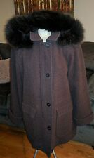 LONDON FOG 100% WOOL REAL FOX FUR PARKA BROWN LADIES L COAT HOODED JACKET