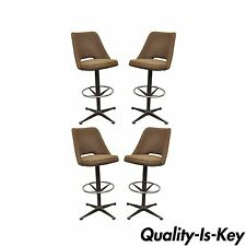 4 Vintage Mid Century Modern Adjustable Height Swivel Bar Stool Chromcraft Style