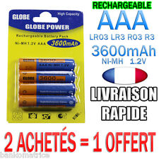 4 PILES AAA RECHARGEABLE ACCUS MIGNON 3600mAh Ni-MH 1,2V R3 LR03 • 2 = 1 OFFERT