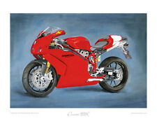 """Motorcycle Art Print Limited Edition 20""""x16"""" by Steve Dunn - Ducati 999R red"""