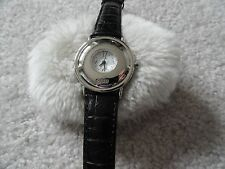Guess Quartz Ladies Watch with an Alligator Grain Black Band