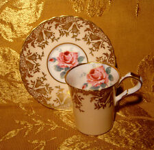 PARAGON DEMITASSE TEA CUP & SAUCER PINK ROSE GOLD FILIGREE IN PALE PEACH A376/5