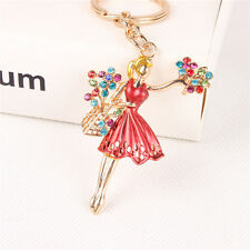 New Fashion Ballet Girl Dress Flowers Crystal Pendent Charm Key Ring Chain Gift