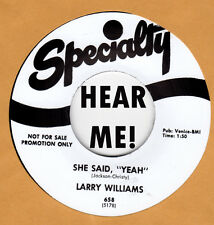 R&B/BLUES REPRO: SPECIALTY 658 - LARRY WILLIAMS - BAD BOY / SHE SAID YEAH