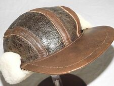 Vtg EDDIE BAUER US AAF WW2 B-17 BOMBER B-2 SHEEPSKIN LEATHER GUNNER FLIGHT CAP