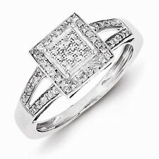 STERLING SILVER .20CT SQUARE SHAPED HALO DIAMOND CLUSTER RING - SIZE 8