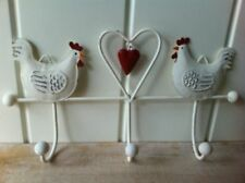 TRIPLE HOOK KEYS COAT JEWELLERY KITCHEN TEA TOWELS HEN & HEART  WALL HANGING