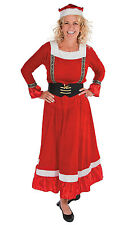 Mrs Claus Long Dress Costume Adult Holiday Christmas Santa Clause Helper Outfit