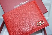 Salvatore Ferragamo Mens Bifold Red Wallet Credit Card Case Rosso Leather NWT