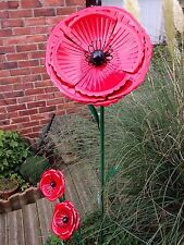 Metal Poppy Remembrance Day Garden Ornament Stake Large