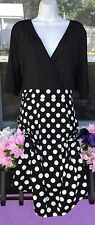 New Vintage Sexy Black White Polka Dot A Line Dress Size XL 16 / 18 Plus Retro