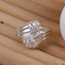 Very stylish Ring in 925 silver plate woven cross bands