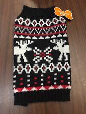 Dog Sweater Size Medium Black Red White Two Elks Moose Animal Print