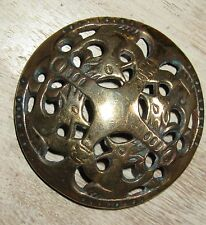 Scandinavian/Finnish Brass Brooch, Stunning & Very Old.  Kalevala Koru Design.