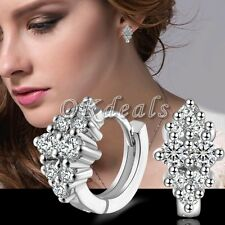 Women's Crystal 925 Sterling Silver Plated Ear Stud Hoop Earrings Jewelry Gift