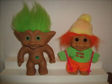 "2 Large Russ and Ace Novelty  8"" Troll Dolls Born to Ski & Green Star"