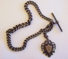 Antique Sterling European WJD Heavy Pocket Watch Chain & Fob w/ 9ct Gold Shield
