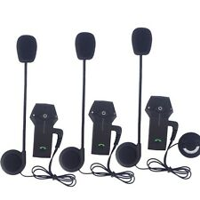 3x Motorcycle Communicator BT Intercom Bluetooth Helmet Headset for 3 Riders 1km