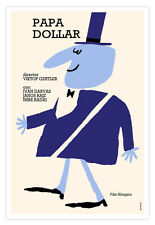 """Cuban movie Poster for Hungarian film""""Papa DOLLAR""""Purple Rich Guy.Funny graphics"""