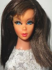 Vintage OOAK BRUNETTE STANDARD BARBIE + MADDIE MOD CLONE WHITE LACE SILVER DRESS